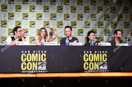 "Ari Stidham, from left, Katharine McPhee, Eddie Kaye Thomas, Jadyn Wong and writer/producer Nick Wootton attend the ""Scorpion"" panel on day 1 of Comic-Con International, in San Diego"