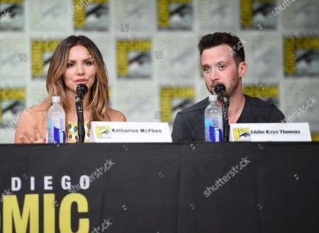 "Stock Image of Katharine McPhee, left, and Eddie Kaye Thomas attend the ""Scorpion"" panel on day 1 of Comic-Con International, in San Diego"