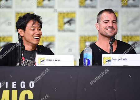 """Director/producer James Wan, left, and actor George Eads attend the """"MacGyver"""" panel on day 1 of Comic-Con International, in San Diego"""
