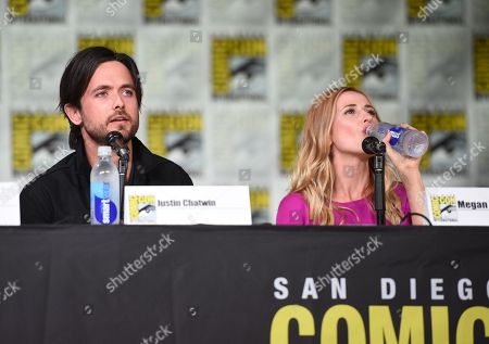 """Justin Chatwin, left, and Megan Ketch attend the """"American Gothic"""" panel on day 1 of Comic-Con International, in San Diego"""