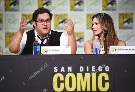 "Stock Picture of Ari Stidham, left, and Katharine McPhee, attend the ""Scorpion"" panel on day 1 of Comic-Con International, in San Diego"