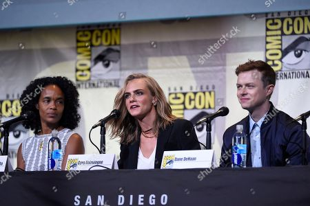 "Producer Virginie Besson-Silla, from left, Cara Delevingne and Dane DeHaan attend the ""Valerian and the City of a Thousand Planets"" panel on day 1 of Comic-Con International, in San Diego"