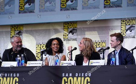 "Director/producer/writer Luc Besson, from left, producer Virginie Besson-Silla, Cara Delevingne and Dane DeHaan attend the ""Valerian and the City of a Thousand Planets"" panel on day 1 of Comic-Con International, in San Diego"