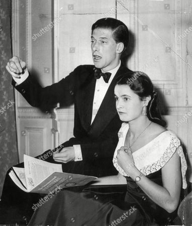 The 7th Earl Of Harewood And Fiancee Marion Stein. She Became His Wife Countess Of Harewood On 29/9/1949 They Divorced In April 1967. (married Jeremy Thorpe 3/1973) He Is A Cousin Of The Queen His Mother Was Mary The Princess Royal. (filed In Main Library Lp-3f)