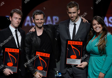 """Songwriters Cirkut, Dr Luke and Calvin Harris receive the ASCAP Pop Song for """"Where Have You Been"""" and ASCAP's Jamie McLaughlin onstage at the 30th Annual ASCAP Pop Music Awards,, at Loews Hollywood Hotel in Hollywood, California"""