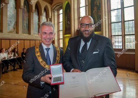 "Editorial image of Rapper Moses Pelham honored with ""Goetheplakette"" by the mayor of Frankfurt, Frankfurt, Germany - 06 Nov 2017"