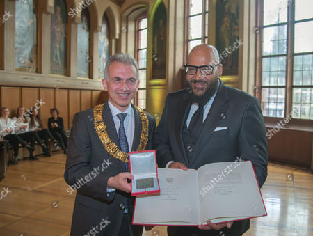 "Editorial photo of Rapper Moses Pelham honored with ""Goetheplakette"" by the mayor of Frankfurt, Frankfurt, Germany - 06 Nov 2017"