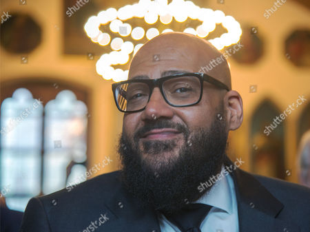 """Stock Image of Rapper Moses Pelham honored with """"Goetheplakette"""" by the mayor of Frankfurt"""