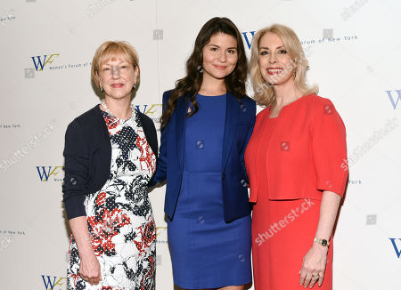 President of the Education Fund of the Women's Forum of New York, Linda Willett, left, actress Phillipa Soo and Women's Forum of New York president Carolyn Carter attend the 6th Annual Elly Awards at the Plaza Hotel, in New York
