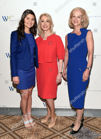 Honoree actress Phillipa Soo, left, Women's Forum of New York president Carolyn Carter and Hatch Beauty chairman Christie Hefner attend the 6th Annual Elly Awards at the Plaza Hotel, in New York