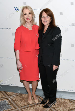 Women's Forum of New York president Carolyn Carter, left, and Business Wire chairman and CEO Cathy Baron Tamraz attend the 6th Annual Elly Awards at the Plaza Hotel, in New York