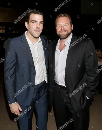Zachary Quinto and Joe Carnahan attend the 8th Annual HollyShorts Film Festival opening night celebration at Grauman's Chinese Theatre, in Los Angeles, CA