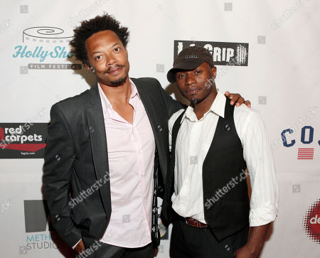 Philippe Cassius and Malcolm Goodwin attend the 8th Annual HollyShorts Film Festival opening night celebration at Grauman's Chinese Theatre, in Los Angeles, CA