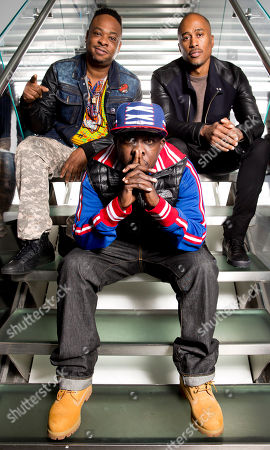Jarobi White, from left, Malik Isaac Taylor aka Phife Dawg and Ali Shaheed Muhammad of A Tribe Called Quest pose for a portrait at Sirius XM studios, in New York