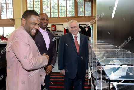 Actor Anthony Anderson, Chris Spencer and WSS President Mark Archer (L-R) tour the new WSS flagship store at 7th and Union in downtown Los Angeles following the company's announcement of a $250,000 donation to the LA County Alliance for Boys & Girls Clubs on in Los Angeles