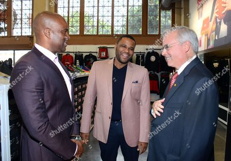 Chris Spencer, actor Anthony Anderson and WSS President Mark Archer (L-R) tour the new WSS flagship store at 7th and Union in downtown Los Angeles following the company's announcement of a $250,000 donation to the LA County Alliance for Boys & Girls Clubs on in Los Angeles