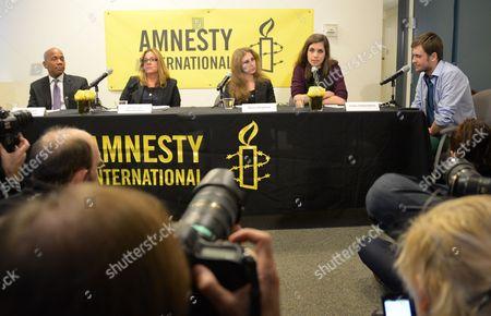Steven Hawkins, Ann Burroughs, Maria Alekhina, Nadezhda Tolokonnikova and Pyotr Verzilov participates in an Amnesty International Pussy Riot press conference on in New York