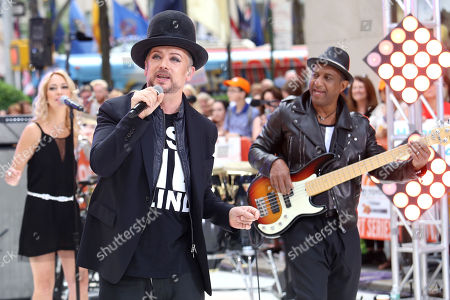 """Boy George, left, and Mikey Craig of Culture Club perform on NBC's """"Today"""" show at Rockefeller Plaza, in New York"""