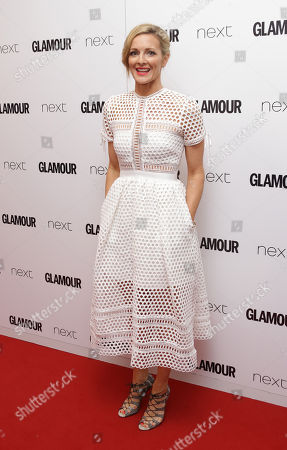 Gaby Logan poses for photographers upon arrival at the Glamour Women Of The Year Awards in London, Tuesday, 2 June, 2015
