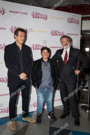 From left, actors, Liam Neeson, Julian Dennison and Sam Neill pose for photographers upon arrival at the premiere of the film â?˜Hunt For The Wilderpeople' in London