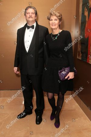 Documentary producer and anthropologist Andre Singer and wife Lynette Singer attend the London Critics Circle Awards at the May Fair Hotel,, in London