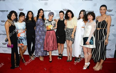 From left, Elenor Mak and Cheryl Han of Keaton Row, Mona Bijoor of JOOR, Chondita Chatterjee of Lyst, host Kelly Osbourne, Geri Hirsch and Erin Falconer of LEAFtv, Stephanie Mark of The Coveteur, Piera Gelardi Co-founder and Creative Director of Refinery29, and Yael Aflalo of Reformation at Cadillac and Refinery29 Present Driven by Digital: Leaders in Style + Tech event at HYDE Sunset Kitchen + Cocktails in Los Angeles on