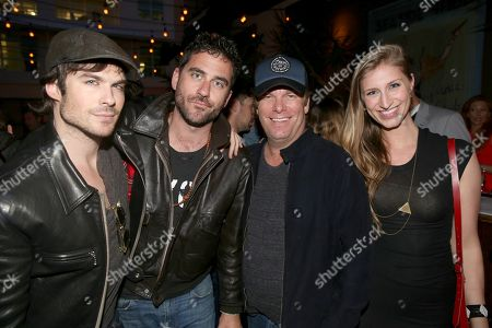 IMAGE DISTRIBUTED FOR DETAILS MAGAZINE - Ian Somerhalder and from left, Bryn Mooser, Ryan Magnunsem and Molly Swenson attend Digital Mavericks 2014 hosted by DETAILS and MR PORTER at 41 Ocean Club, in Santa Monica, Calif
