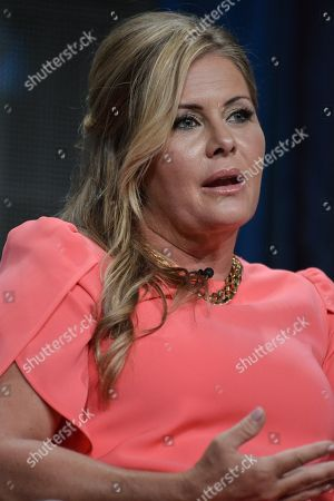 """Stock Picture of Nicole Eggert speaks onstage at the """"Heartbreakers"""" portion of the Discovery 2014 Summer TCA, in Beverly Hills, Calif"""
