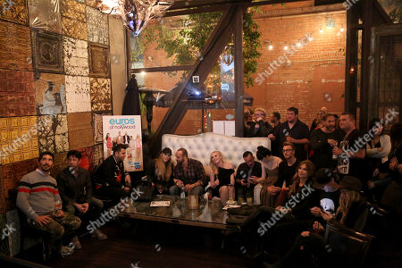 Sascha Gerecht and Isabel Adrian watch the show with guests at the Euros of Hollywood Premiere Party at St. Felix on in Hollywood, Calif