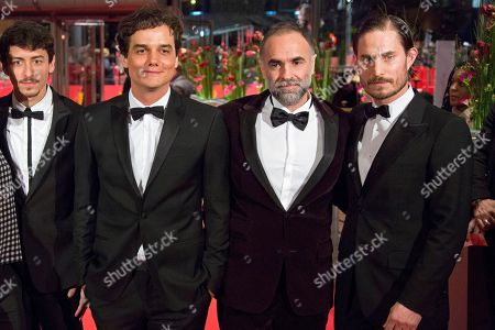 From left, Jesuita Barbosa, Wagner Moura, Karim Ainouz and Clemens Schick on the red carpet for the film Praia Do Futuro during the 64th Berlinale International Film Festival, in Berlin