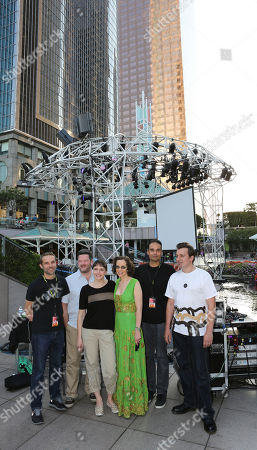 From left, Ed Handley of Plaid, Pole aka Stefan Betke, DJ Barbara Preisinger, Green Galactic's Lynn Tejada, John Tejada and Andy Turner of Plaid pose during LA-based arts and culture promoters Green Galactic celebrated its 20th anniversary with live performances from international electronic composers Andy Turner and Ed Handley of Plaid, John Tejada, Pole aka Stefan Betke, and DJ Barbara Preisinger held at Grand Performances, in Los Angeles, Calif