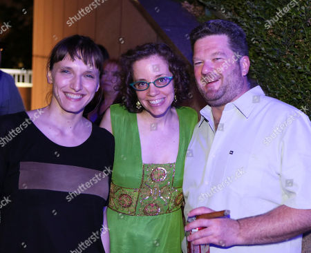 Stock Image of From left, DJ Barbara Preisinger, Green Galactic's Lynn Tejada and Pole aka Stefan Betke pose during LA-based arts and culture promoters Green Galactic celebrated its 20th anniversary with live performances from international electronic composers Andy Turner and Ed Handley of Plaid, John Tejada, Pole aka Stefan Betke, and DJ Barbara Preisinger held at Grand Performances, in Los Angeles, Calif