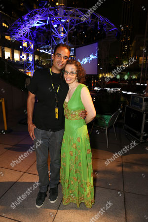 Stock Photo of From left, Performer John Tejada and Green Galactic's Lynn Tejada pose during LA-based arts and culture promoters Green Galactic celebrated its 20th anniversary with live performances from international electronic composers Andy Turner and Ed Handley of Plaid, John Tejada, Pole aka Stefan Betke, and DJ Barbara Preisinger held at Grand Performances, in Los Angeles, Calif