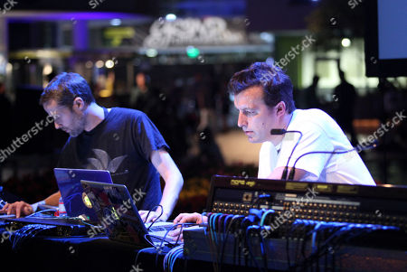 From left, Ed Handley and Andy Turner of Plaid perform during LA-based arts and culture promoters Green Galactic celebrated its 20th anniversary with live performances from international electronic composers Andy Turner and Ed Handley of Plaid, John Tejada, Pole aka Stefan Betke, and DJ Barbara Preisinger held at Grand Performances, in Los Angeles, Calif