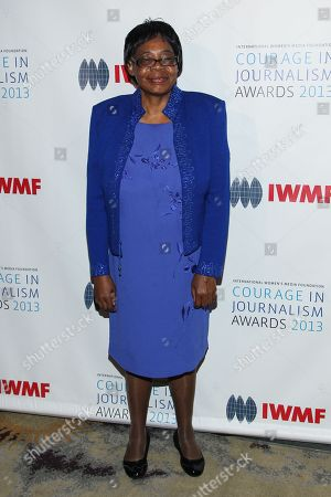 Lifetime Achievement Award winner Edna Machirori arrives at the International Women's Media Foundation's 2013 Courage in Journalism Awards at The Beverly Hills Hotel on in Beverly Hills, Calif