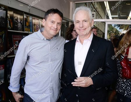 """Actor and director Christopher Guest, right, and actor and producer Michael Hitchcock pose together before Emmy-winning actress Jane Lynch receives a star on the Hollywood Walk of Fame on in Los Angeles. The ceremony is in celebration of """"Glee"""" The Complete Fourth Season debuting on Blu-ray and DVD on Oct. 1, 2013 from Twentieth Century Fox Home Entertainment"""