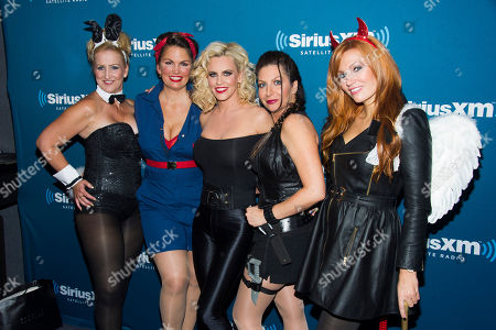 Paula Bel, from left, Lynne Koplitz, Jenny McCarthy, Tammy Pescatelli and April Macie attend McCarthy's SiriusXM Halloween Party on in New York
