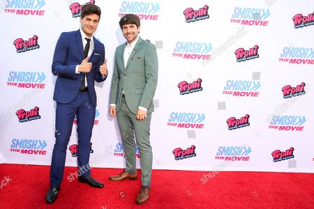 """Anthony Padilla, left, and Ian Hecox arrive at the LA Premiere of """"Smosh: The Movie"""" at Westwood Village Theatre, in Los Angeles"""