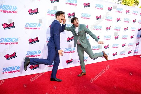"Anthony Padilla, left, and Ian Hecox arrive at the LA Premiere of ""Smosh: The Movie"" at Westwood Village Theatre, in Los Angeles"