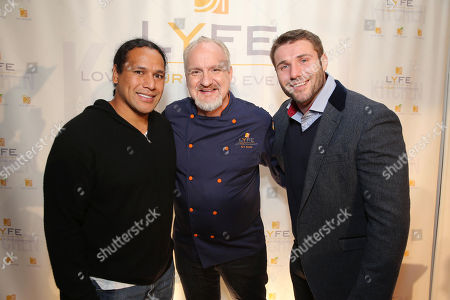 Football Player Troy Polamalu, Chef Art Smith and Rugby Star Ben Cohen at the second Lyfe Kitchen grand opening celebration on in Culver City, CA