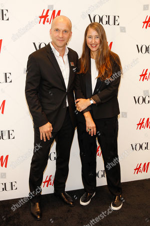 H&M President of North America, Daniel Kulle and H&M's Head of Design Ann-Sofie Johansson seen at the VOGUE and H&M fashion week kickoff at H&M on 5th ave on in New York