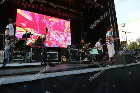 Andrew VanWyngarden and Benjamin Goldwasser with MGMT performing at Party in the Park, in Atlanta