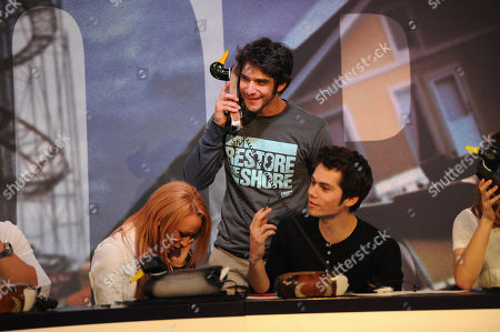 From left, Maci Bookout, Tyler Posey, and Dylan O'Brien during MTV's Restore the Shore telethon at the MTV Times Square Studios on in New York