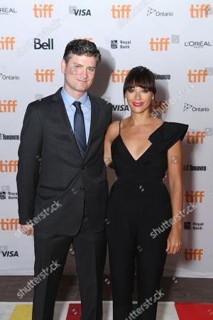 "Writers Mike Schur and Rashida Jones seen at Netflix ""Black Mirror"" premiere at the 2016 Toronto International Film Festival, in Toronto"