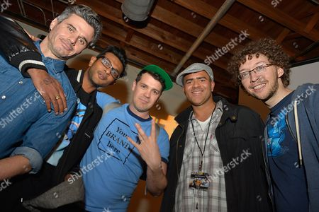 From left, Evan Shapiro, president of Pivot, poses with Utkarsh Ambudkar, Anthony Veneziale, Christopher Jackson and Arthur Lewis from Freestyle Love Supreme at Participant Media's Engage, Inspire and Ignite: Conversations about Unleashing Social Good at SXSW in Austin, Texas