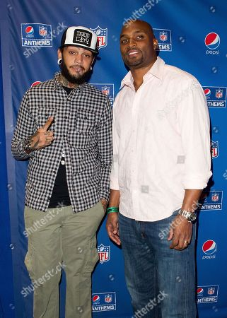 Travie McCoy and Amani Toomer attend the Pepsi NFL anthems kick off at Hard Rock Cafe on in New York City