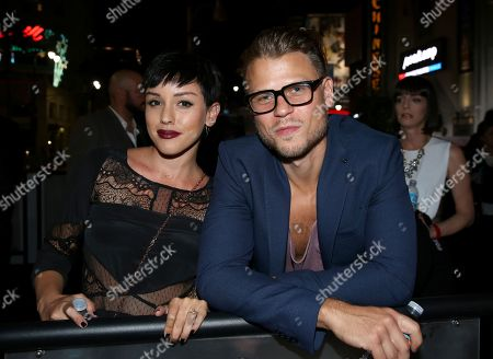 "Raychel Diane Weiner, left, and Aaron Schwartz attend the premiere of STARZ' ""Ash vs. Evil Dead"" at the TCL Chinese Theater, in Los Angeles"
