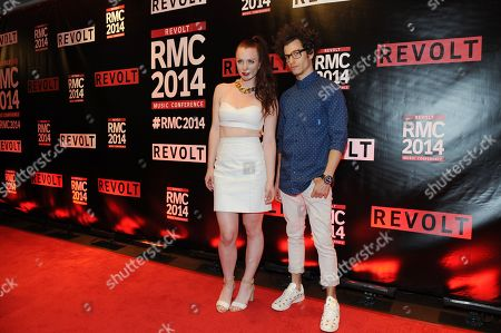 Zoe Silverman and Adam Pallin arrive for the REVOLT Music Conference Gala Dinner at Fontainebleau Miami Beach, in Miami Beach, Fla