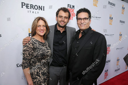 """Cathy Schulman, President of Production at STX Entertainment, Director/Writer/Producer Jonas Cuaron and Oren Aviv, President and Chief Content Officer, Motion Picture Group at STX Entertainment, seen at STX Entertainment's Premiere of """"Desierto"""" at 2016 LA Film Festival Closing Night, in Culver City, Calif"""