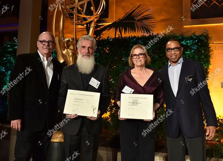 """Tim Gibbons, from left, Chris Newman, Bernadette Caulfield and Hayma """"Screech"""" Washington attend the Television Academy's 2016 Producers Nominee Reception at the Montage Hotel, in Beverly Hills, Calif"""